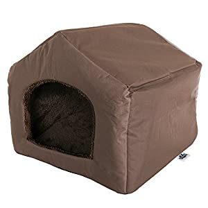 """PETMAKER Cozy Cottage House Shaped Pet Bed, Brown, 19"""" x 18. 5"""" x 17"""""""