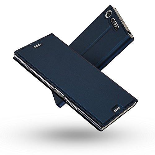 Radoo Cover Sony Xperia XZ1 Compact, Slim-Fit Folio Premium Custodia Vintage PU Pelle con [Kickstand] Tasca Stile Unico Sottile Funzione TPU Antiurto Flip Cover a Libro(Blu)
