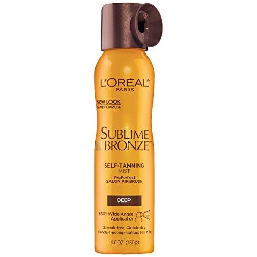 L'Oreal Paris Skincare Sublime Bronze Self Tanning Mist, Deep to Natural Spray tan, 4.6 oz.