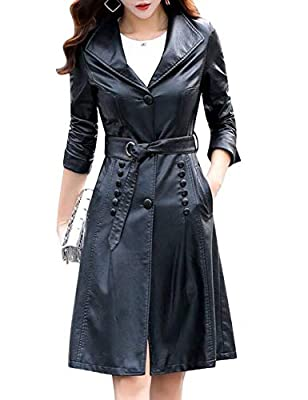 Tanming Womens Autumn Fashion Lapel Button Front Long Leather Jacket Trench Coat (Black, Medium)