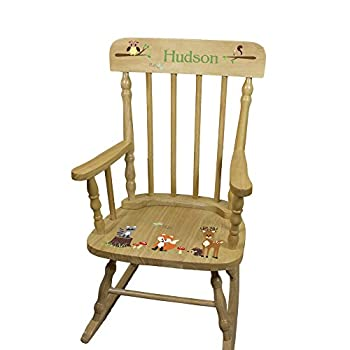 Personalized Child s Wood Forest Animals Rocking Chair