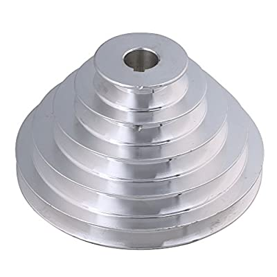 BQLZR 54mm to 150mm Outter Dia 20mm Bore Width 12.7mm Aluminum 5 Step Pagoda Pulley Belt for A Type V-Belt Timing Belt