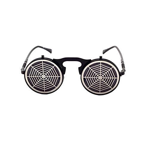 Gafas de sol punk, cibergafas de sol con borde negro, diseño de telaraña, chanclas de vapor, adecuadas para discotecas, estilo hip hop, accesorios de metal, material hueco, para hombres y mujeres