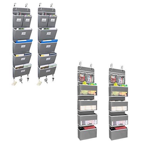 JARLINK 2 Pack 5-Shelf Over Door Hanging Organizer Bundle with 2 Pack 5-Shelf Over The Door File Organizer, Hanging Wall File Organizer for Office or Home, Grey