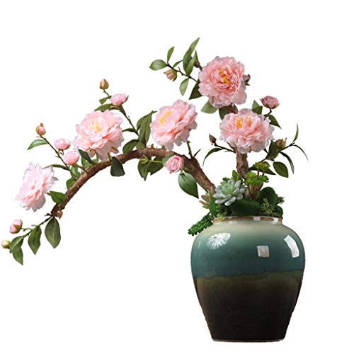 NYKK Künstliche Blume Künstliche Pfingstrosen-Blumen-Wohnzimmer Esstisch Bürodekoration Künstliche Blumen geeignet for Bankett Familie Künstliche Blumendekoration mit Vase Ewige Blume