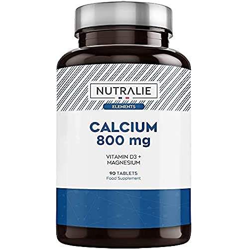 Calcio 800 mg con Magnesio e Vitamina D3 | Mantenimento di Ossa, Denti e Muscoli Normali con Calcio, Magnesio e Vitamina D Alto Dosaggio | 90 Compresse Nutralie