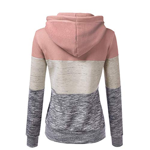 Janly Clearance Sale Women's Long Sleeve Tops, Fashion Womens Casual Hoodies Sweatshirt Patchwork Ladies Hooded Blouse Pullove, Women Plain Color Blouse for Easter Gifts Deal (Pink-M)
