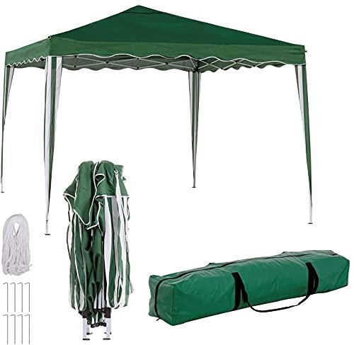 TIENDA EURASIA® Cenador Plegable con Ventilación Superior de Acero de 300x300x250 cm - Bolsa de Transporte de Tela Incluida (Verde)