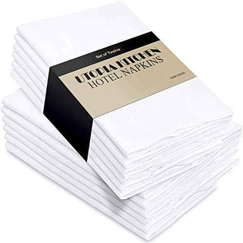 Utopia Kitchen Cloth Napkins 18 by 18 Inches, 12 Pack White Dinner Napkins, Cotton Blend Soft Durable Napkins