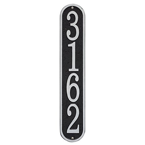 "Whitehall Personalized Cast Metal Address Plaque - Custom House Number Sign - Vertical Oval (3.5"" x 19"") Black with Silver Numbers"