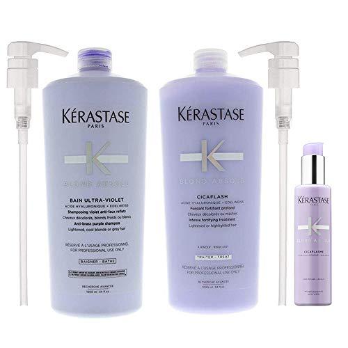 Blond Absolu Bain Ultra-Violet Shampoo & Cicaflash Treatment 34 Oz each with Pumps & Cicaplasme Serum 5.1 Oz