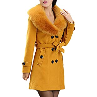 friendGG Womens Winter Lapel Wool Coat Trench Jacket Long Sleeve Overcoat Outwear Ladies Waterfall Cardigan Ladies Girl Tunic Pullover Blouse Jacket Coat with Belt Fashion Hooded Coat Long Jacket:Diet-beauty