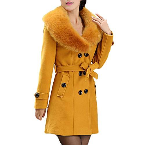 IZHH Mantel Damen Mode Trench Womens Winter Revers Wollmantel Trenchcoat Langarm Mantel Outwear Damen Button Gürtel Langarm Top Jacke(Gelb,XXXXX-Large)