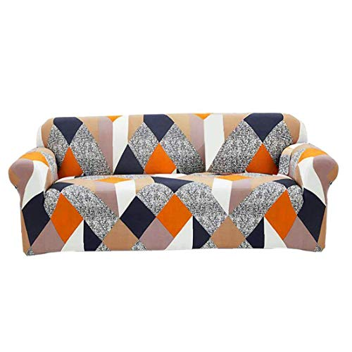 Hotaden Sofa Cover Stretch Elastic Couch Cover for Living Room L-shape Armchair (Rubik's Cube) Two Seats