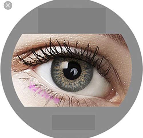Sugar Gray: Farbige Jahres Kontaktlinsen ohne Stärke mit Aufbewahrungsbox braun blau grün grau türkis weich als 2er Pack (2 Stück) angenehm zu tragen, perfekt für helle und dunkle Augen