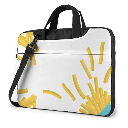 15.6 inch Laptop Shoulder Briefcase Messenger French Fries Scattered Blue Package Tablet Bussiness Carrying Handbag Case Sleeve
