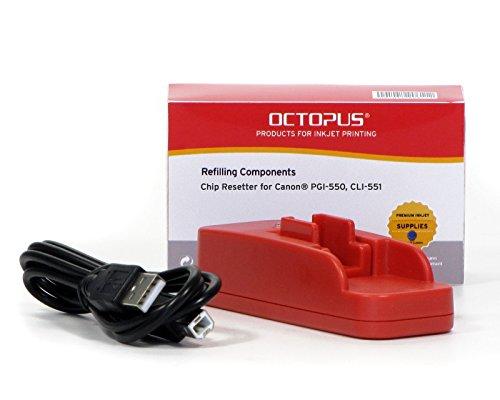 Octopus Chipresetter compatible con los cartuchos de tinta Canon PGI 550, CLI 551 para reinicios sin fin (no OEM)