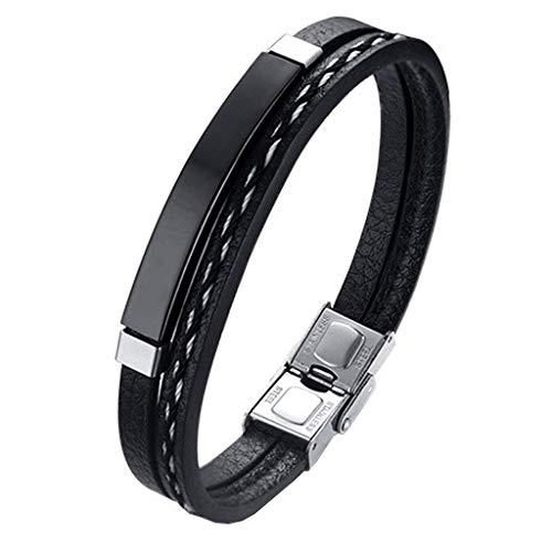Pulsera hombre Legado, en cuero pu y acero inoxidable, brazalete vikingo chico negra combinable con anillo pendiente collar colgante o tobillera muñequera personalizable (BLACK 21,5)