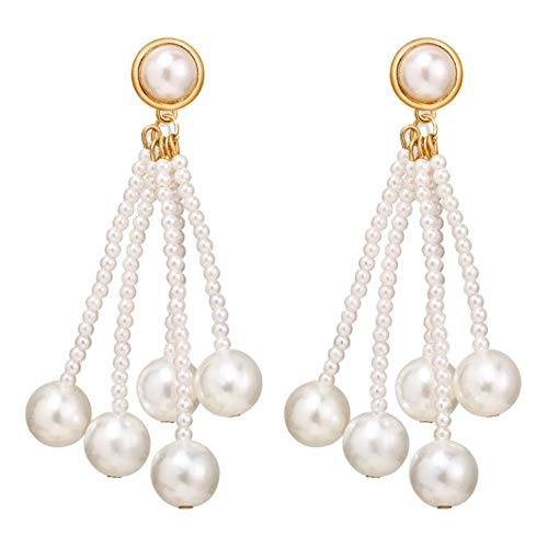 MSYOU Women Creativity Earring Personality Tassel Pearl Pendant Earrings Jewelry Accessories for Birthday Gifts
