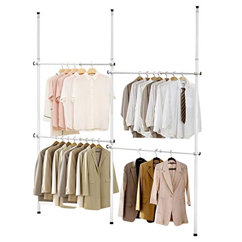Tangkula Double 2 Tier Adjustable Closet System Floor to Ceiling Clothes Hanger with Inner Spring Heavy Duty Clothing Rack Telescopic Closet Organizer System for Living Room Bedroom White