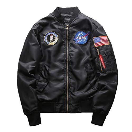 Adelina heren NASA motief borduurwerk lange mouwen jongens bomberjack gewatteerde vliegen mantel opstaande kraag bovenkleding pilotenjack