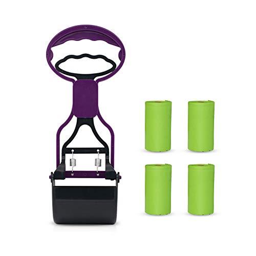 N/F Mousyee Recogedor de Caca para Perros, Recogedor de Excrementos, Scooper Portátil y Ligero con 4 Rollos de Bolsas Biodegradables, Diseño Ergonómico Profesional, Apto para Mascotas (Morado)