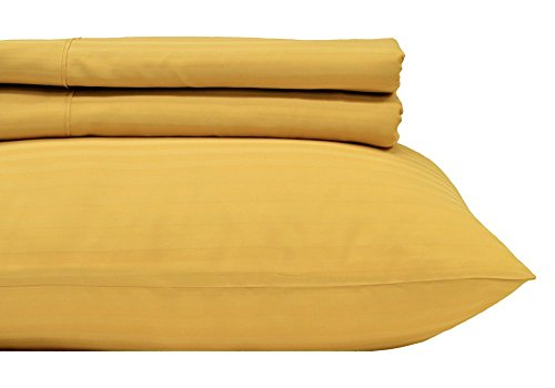 Royal's Stripe Gold 300-Thread-Count 2pc / Pair Standard / Queen Size 20' x 30' Pillowcases 100% Cotton, Sateen, Pillow Cases