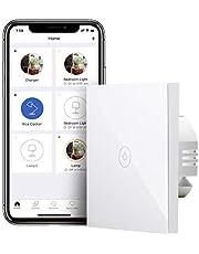 Meross slimme lichtschakelaar WiFi-wandschakelaar, nulleider vereist, 1-weg 1-voudig touchscreen met app-afstandsbediening, compatibel met Alexa, Google Home en IFTTT, 2,4 GHz
