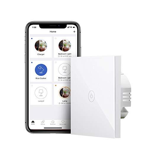 Interruptor de Pared Táctil Wi-Fi, 1 Vía, 1 Canal, Compatible con Alexa, Asistente de Google y IFTTT, meross MSS510X-T