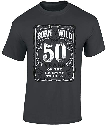 Biker Geburtstags T-Shirt: Born to Be Wild 50 Jahre - Geschenk zum 50. Geburtstag - Jahrgang 1970 - Motorrad-Shirt - Mann Männer Frau-en - Damen Herren - Chopper Highway Hell Bike (3XL)