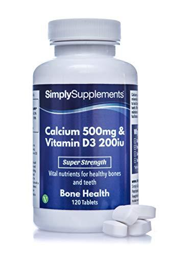 Calcio 500mg y Vitamina D3 200iu - ¡Bote para 4 meses! - Apto para vegetarianos - 120 Comprimidos - SimplySupplements