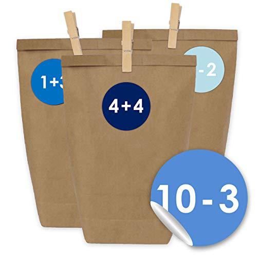 24 Adventskalender Papiertüten mit 24 Zahlenaufklebern und Klammern - zum selber Basteln - DIY Set Adventskalender zum Befüllen - Design Nr 9