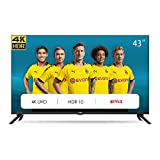 CHiQ Televisor Smart TV LED 43 Pulgadas 4K UHD, HDR 10/HLG, WiFi, Bluetooth, Youtube, Netflix, Prime Video, 3 x HDMI, 2 x USB - U43H7L