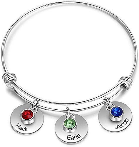 Personalised 3 Simulated Birthstone Charm Silver Bracelet for Woman Mum Grandma Cubic Zirconia Crystal Adjustable Bangle Customised Mothers Day Birthday Gift for Girl Sister BFF Wife Engraved 3 Name