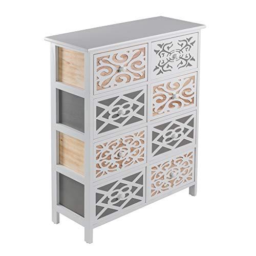 ADGO Shabby Chic Style Emily Cassapanca e 4 cassetti 68 x 28 x 88 cm, elegante e spazioso armadio si...