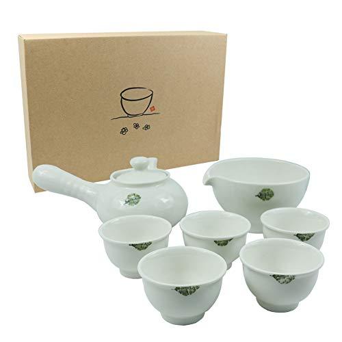 KOYO Handmade Ceramic 7-pcs White Kung Fu Tea Pot Set Japanese Tea Set in Gift Box, Porcelain Ceramics Teapot Set