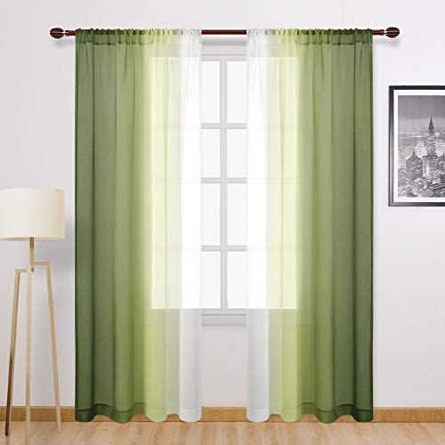 DWCN Faux Linen Ombre Sheer Curtains - Semi Voile Gradient Rod Pocket Curtains for Bedroom and Living Room, Set of 2 Window Curtain Panels, 52 x 84 Inches Long, Olive Green