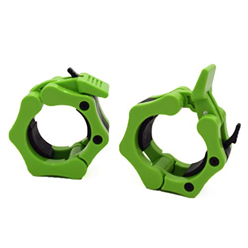 50mm 2' Olympic Barbell Jaw Clamp Collar Clip Weight Dumbbell Spinlock Lift a Pair (neon green)