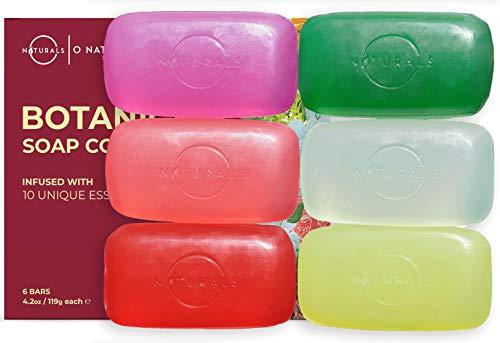 O Naturals Transparent Bar Soap Collection. 6-Pack Natural Soap Gift...