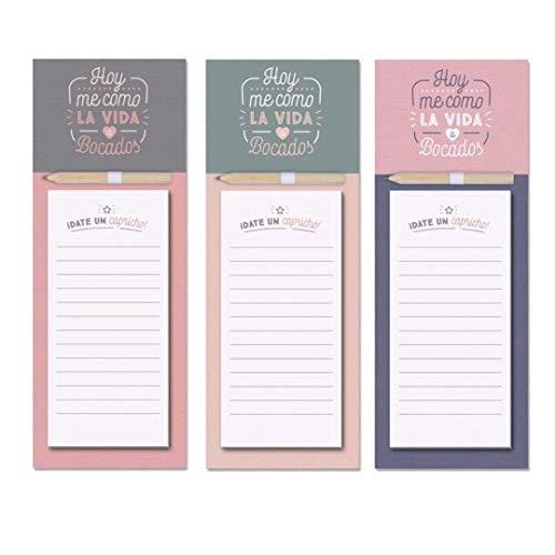 D'CASA Pack de Tres blocs de Notas con imán para Nevera Frase ·Hoy me como la Vida a bocados