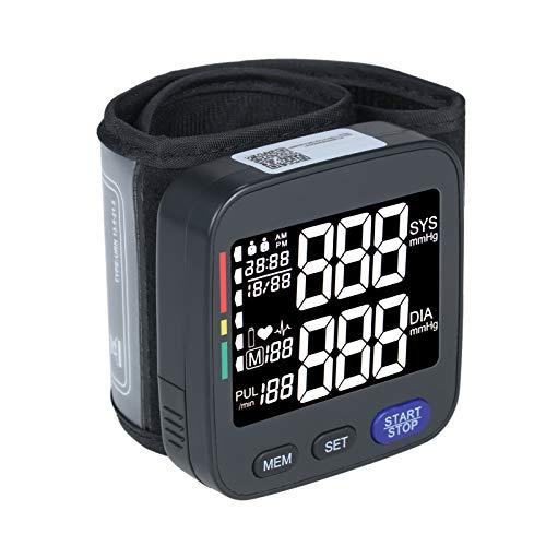 Roeam Tensiómetro de Muñeca Digital,Pantalla LCD Monitor de Presión Arterial,Medidor de Tension,2 * 90 Memoria,Negro