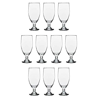 Large Water Goblet Glasses 20 Oz By Toscana - 10 pack - Great For Iced Tea Ice Water Casual Dinner - Large Stemmed Footed Glass Glassware - For A Restaurant Wedding Everyday Purpose - Clear