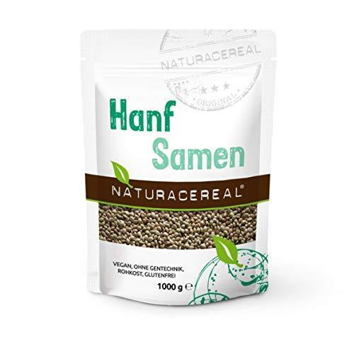NATURACEREAL Hanfsamen ungeschält 1 kg. - | Glutenfrei, Vegan und ohne Gentechnik | Omega 3 und Proteinquelle |