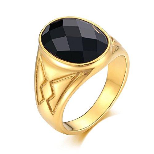 Adokiss Hombre acero inoxidable talla ovalada negro Opal