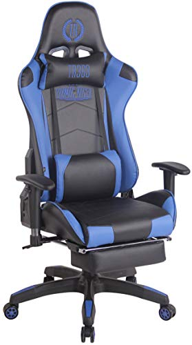 CLP Silla Gaming Turbo En 3 Tapizados Disponibles I Silla Gamer Giratoria & Regulable En Altura, Color:Negro/Azul, Material:Cuero Sintetico