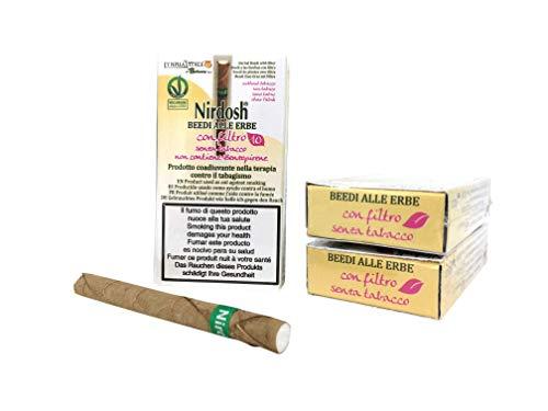 Nirdosh - Zigaretten mit Kräutern, um mit dem Rauchen aufzuhören - 3 Packungen Zigaretten mit ayurvedischen Kräutern - Frei von Nikotin, Tabak, Papier - mit Filter - Medizinprodukt
