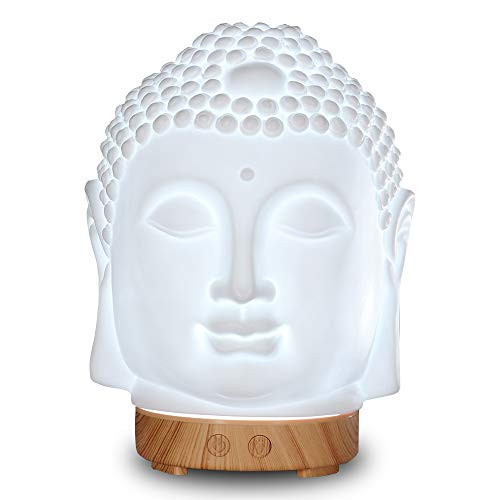 Smiling Buddha Diffuser For Essential Oil, 100ml White Ceramic Aromatherapy Diffuser Ultrasonic Cool Mist Mini Quite Air Humidifier Warm Changing Light For Bedroom Yoga Meditation (Wood Base)