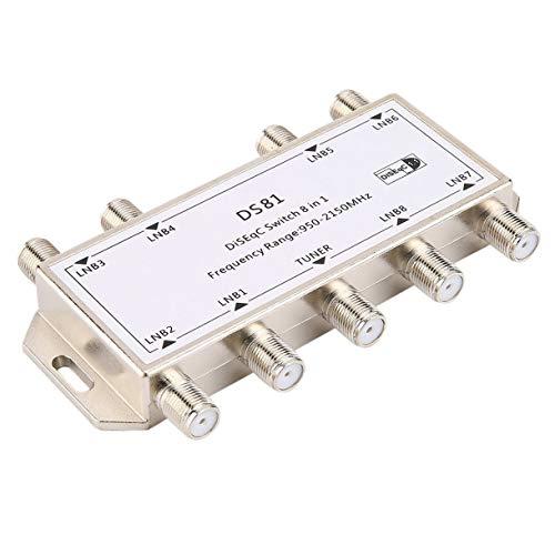 8 DS81 in 1 Satellitensignal DiSEqC-Schalter LNB-Empfänger Multischalter Heavy Duty Zink-Druckguss Chrom Behandelte (Farbe: Silber)
