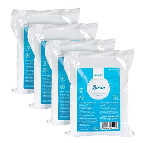 4 x 1 kg Xucker Basic (Xylit) - das ideale Nachfüllpack - nur 240 kcal pro 100 g - vegan - ohne Gentechnik