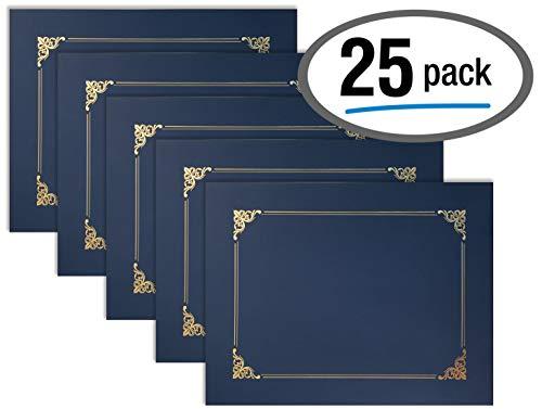 Better Office Products Urkundenhalter, Diplom-Halter, Dokumentenhüllen mit Goldfolie, 25 Stück, Blau